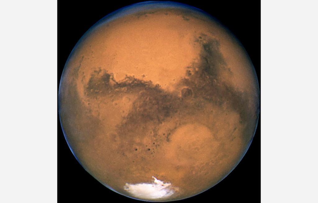 Составное изображение Марса, на основе снимков космического телескопа «Хаббл» 23 августа 2003 года.