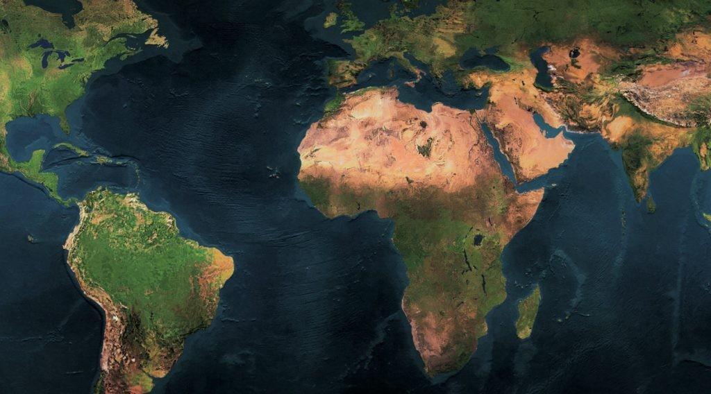 Карта материков и Мирового океана