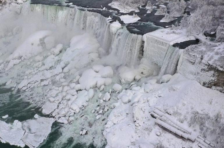 Частичное обледенение Ниагарского водопада