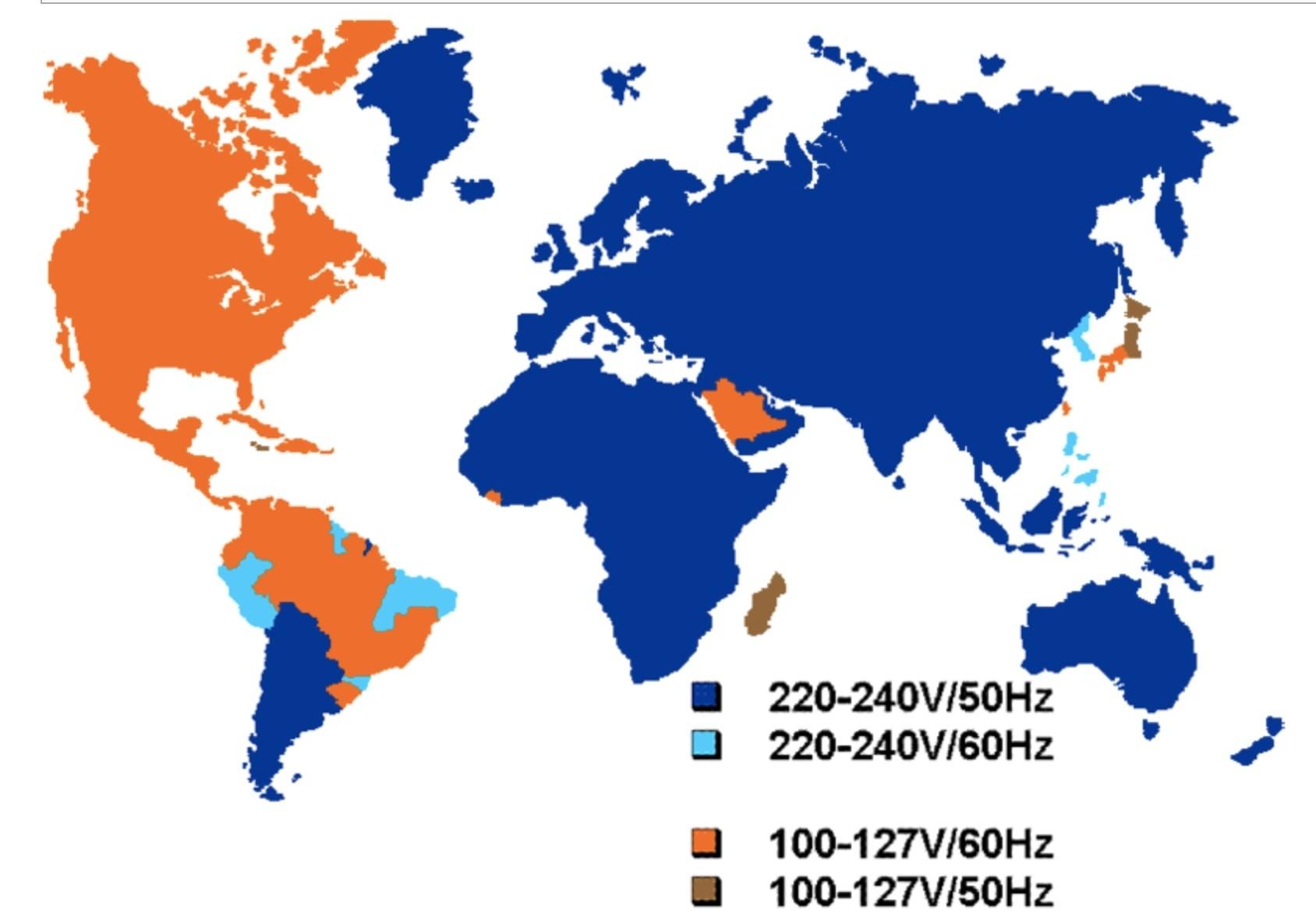 Напряжение в разных странах