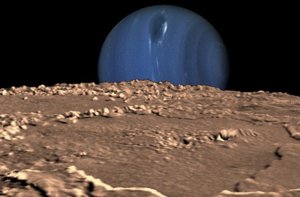 Нептун с поверхности Тритона