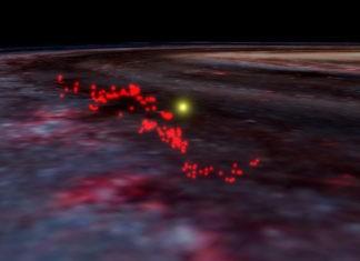 Области звездообразования «волны Рэдклифф», наложенные на снимок Млечного Пути / ©WorldWide Telescope, Alyssa Goodman, Harvard Gazette