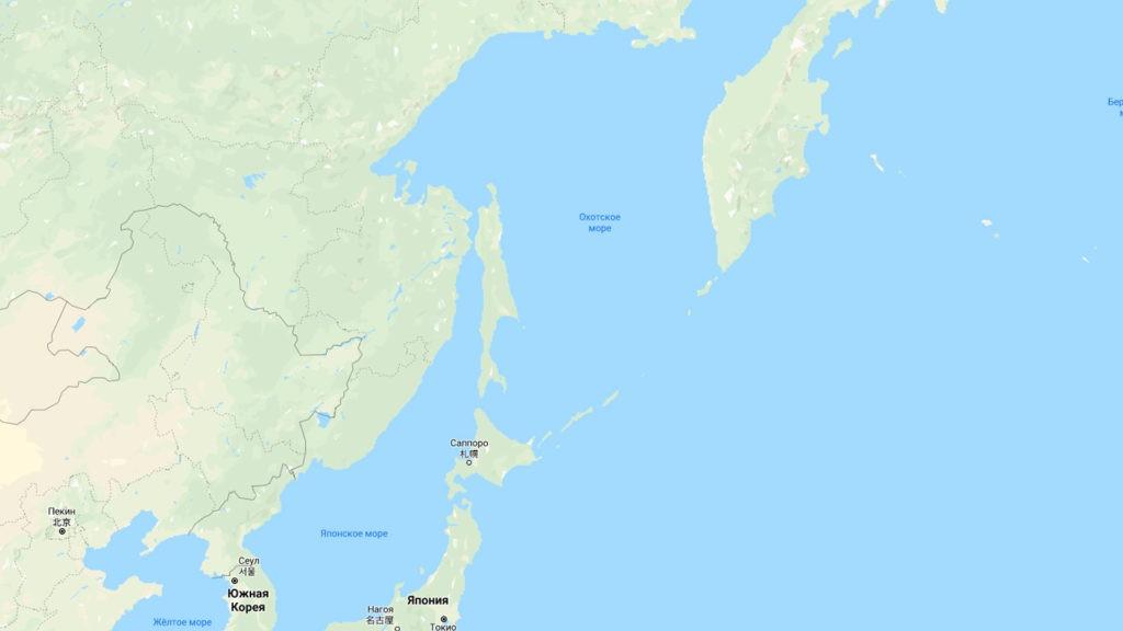 Охотское море на карте