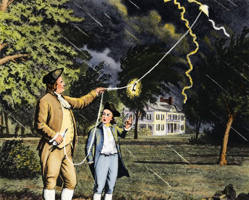 Опыт Бенджамина Франклина, иллюстрация
