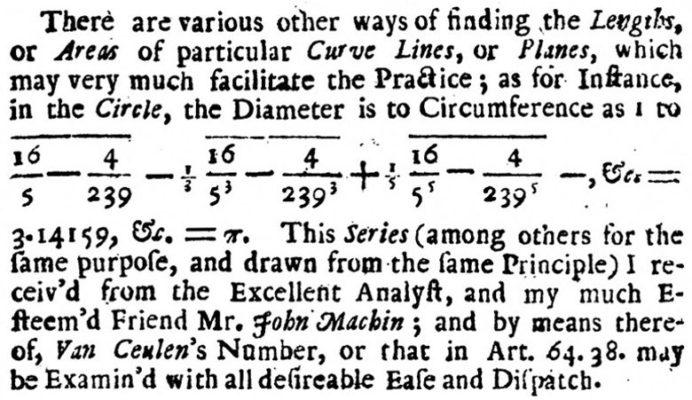 Уильям Джонс использует греческую букву π