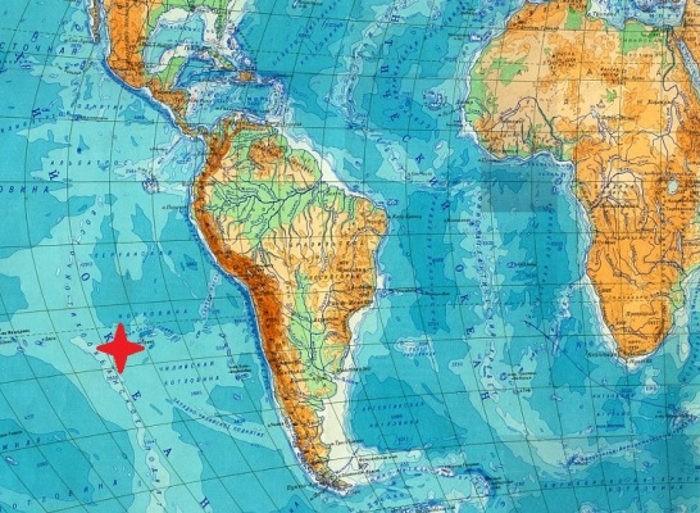 остров Пасхи на карте мира