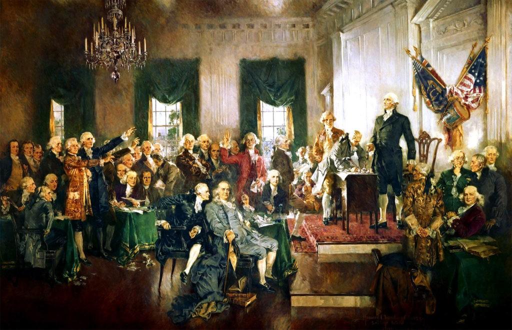 Картина Говарда Чендлера Кристи «Сцена подписания Конституции Соединённых Штатов»