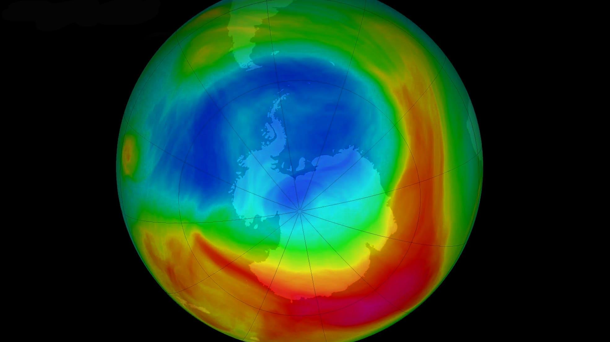 Изображение озоновой дыры (Антарктида)