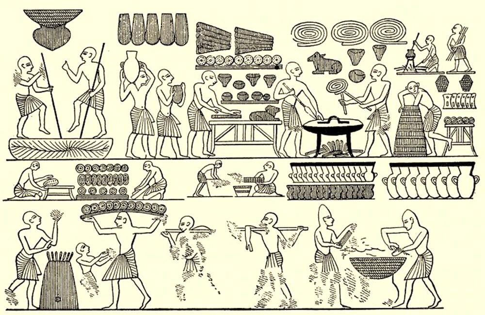 Пекарня с рабочим процессом (гробница Рамзеса III, XII век до н. э.)