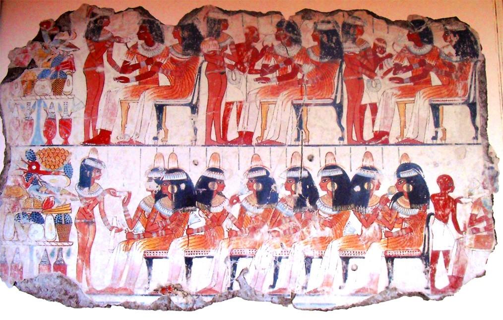 Изображение пира на фреске из гробницы Небамона (1400 год до н. э.)