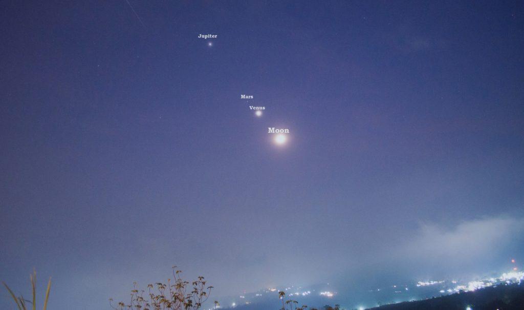 Изображение Юпитера, Марса, Венеры и Луны во время парада