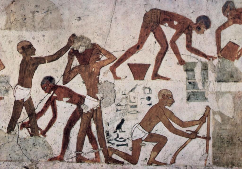 Производство кирпича в  Древнем Египте