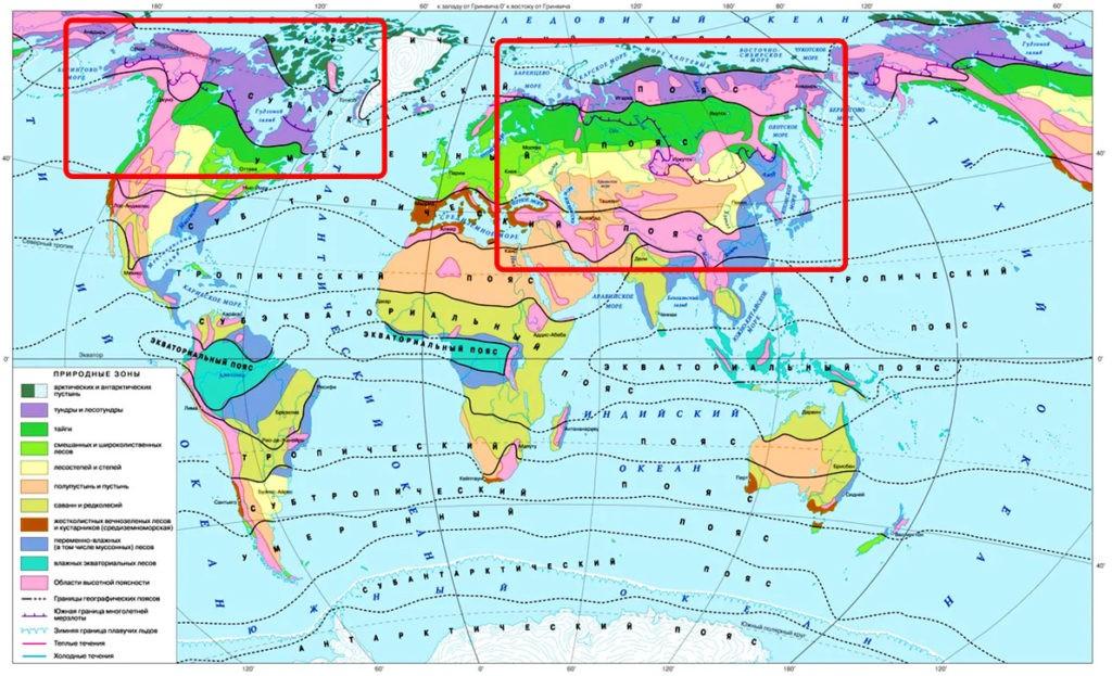 На карте видно, что волк распространен практически во всех природных зонах