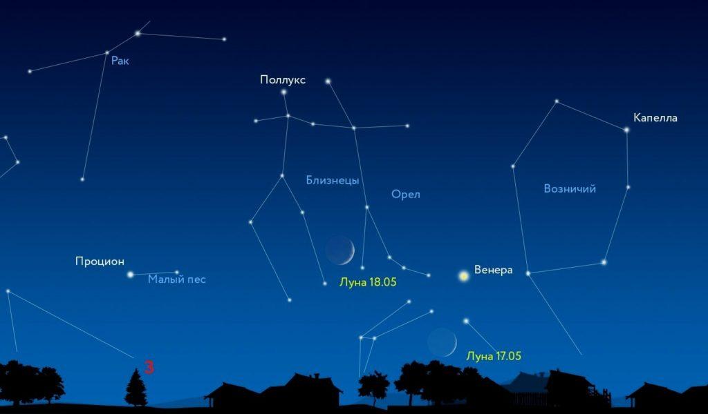 Схема расположения Близнецов и соседних созвездий