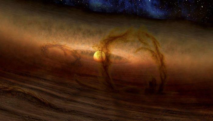 Иллюстрация газов, окутывающих молодое Солнце, из которых появился Юпитер