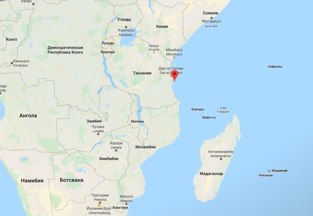 Остров Мафия - расположение