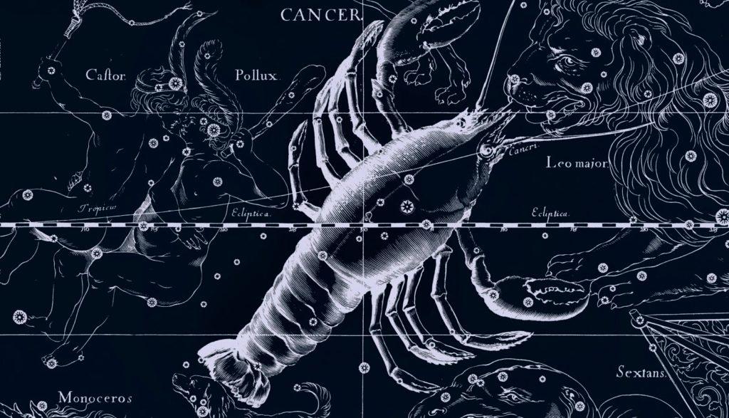 Изображение созвездия Рака с другими мифическими существами и богами