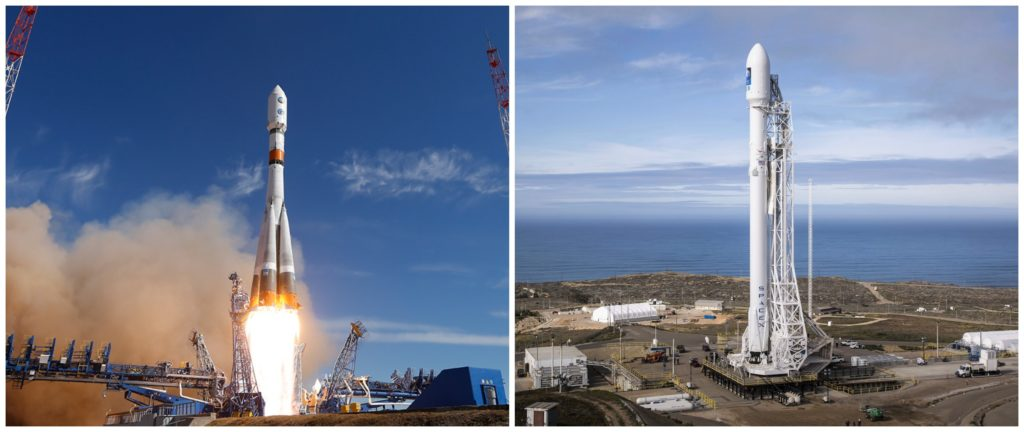 Ракета-носители Falcon 9 и «Союз»