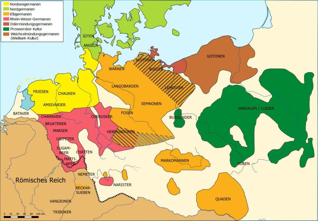 Карта расселения германских племён на I в. н. э.