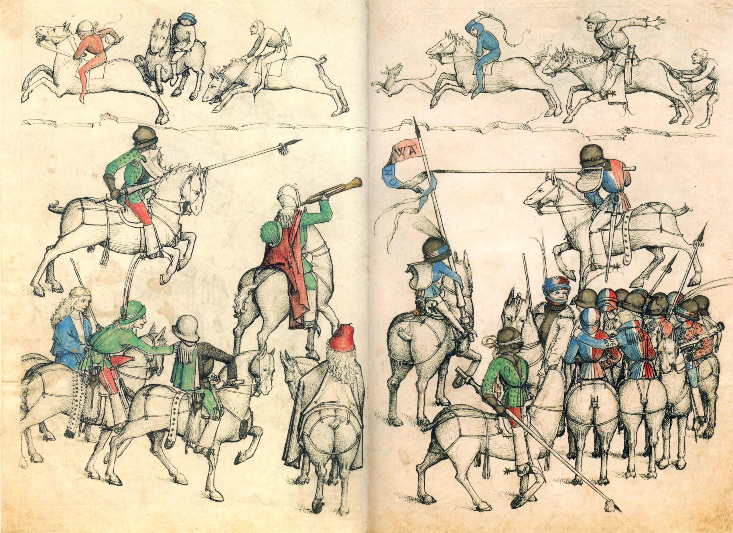 Рыцарский турнир. Иллюстрация из книги «Венера и Марс», 1480
