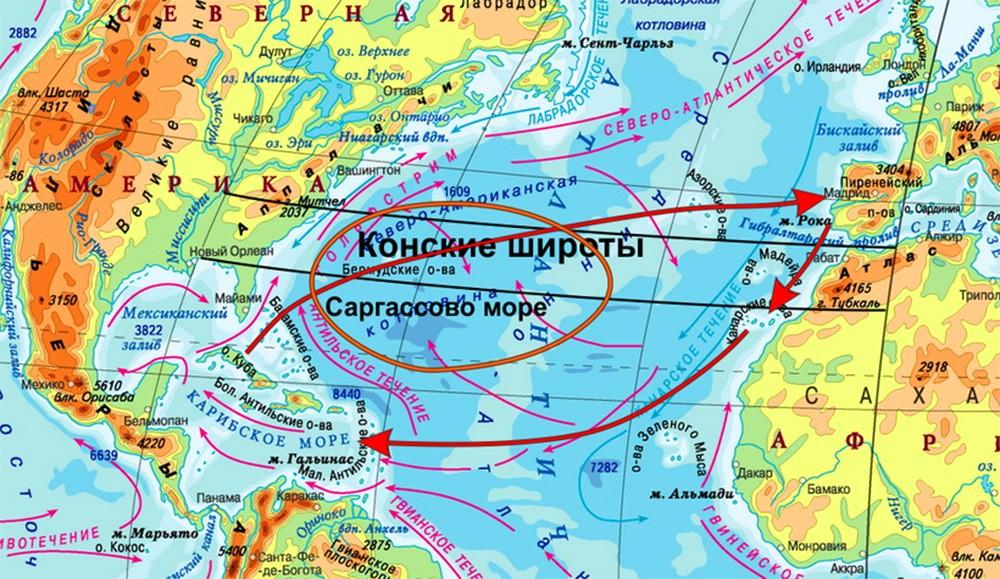 Саргассово море окружено подводными течениями
