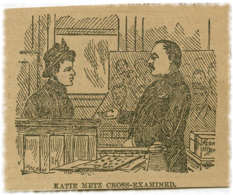 Судебная зарисовка 1889 года с суда над экс-олдерменом Томасом Клири, опубликованная в The New York Times