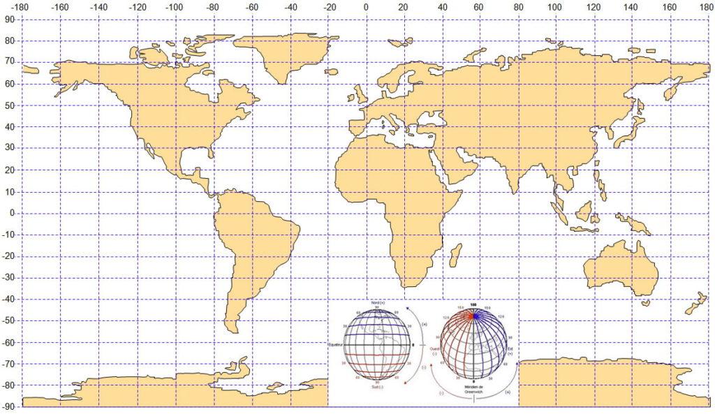 Карта с отмеченными широтой и долготой