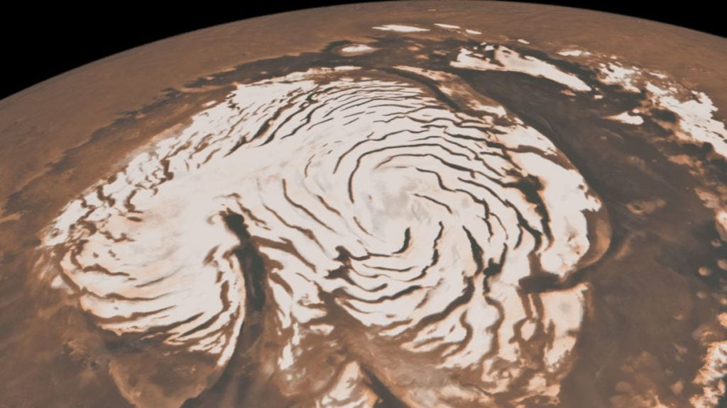 Сухой снег на Марсе