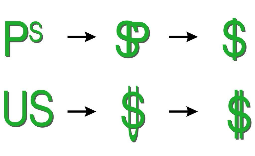 Варианты происхождения символа доллара