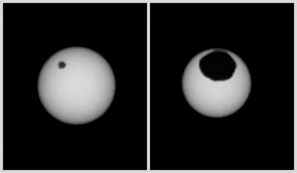 Изображение солнечного затмения на Марсе с участием обоих спутников: Деймоса и Фобоса