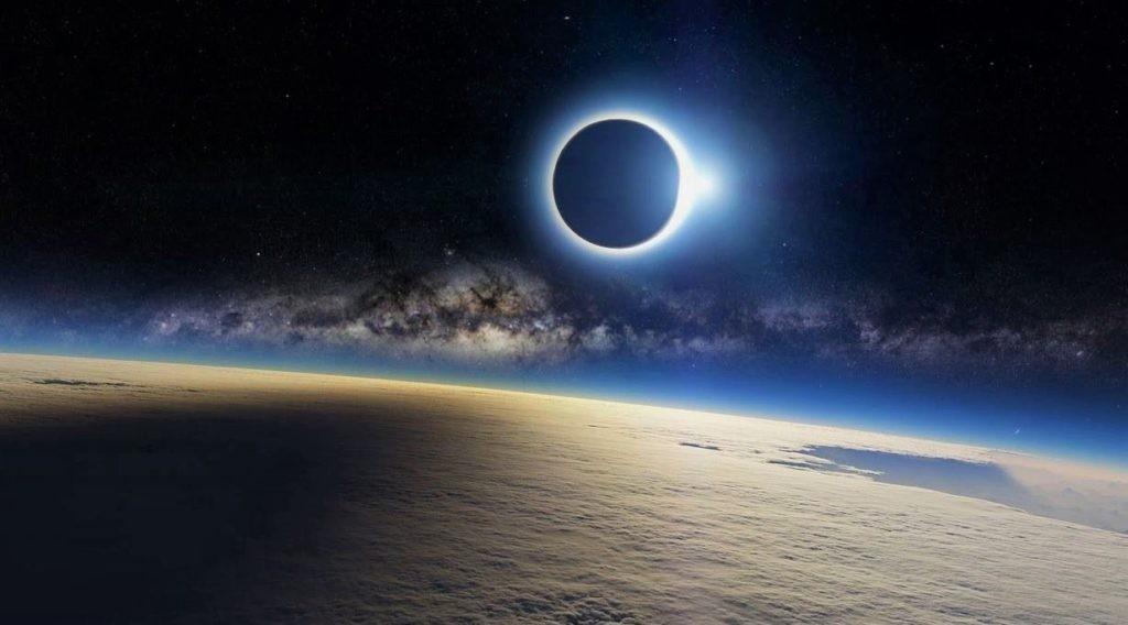 Солнечное затмение над поверхностью Земли