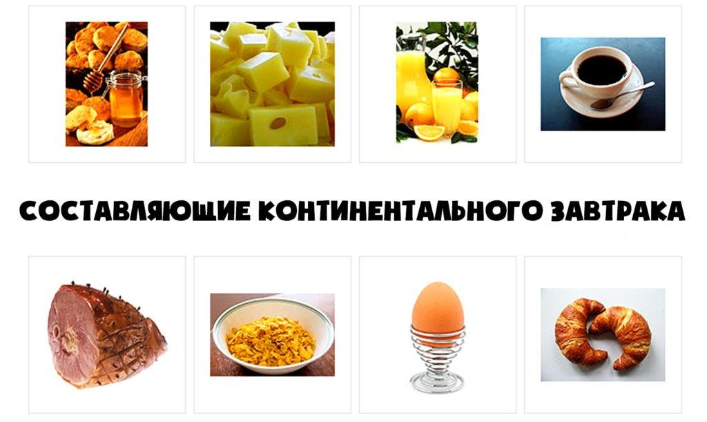 Обычный состав континентального завтрака