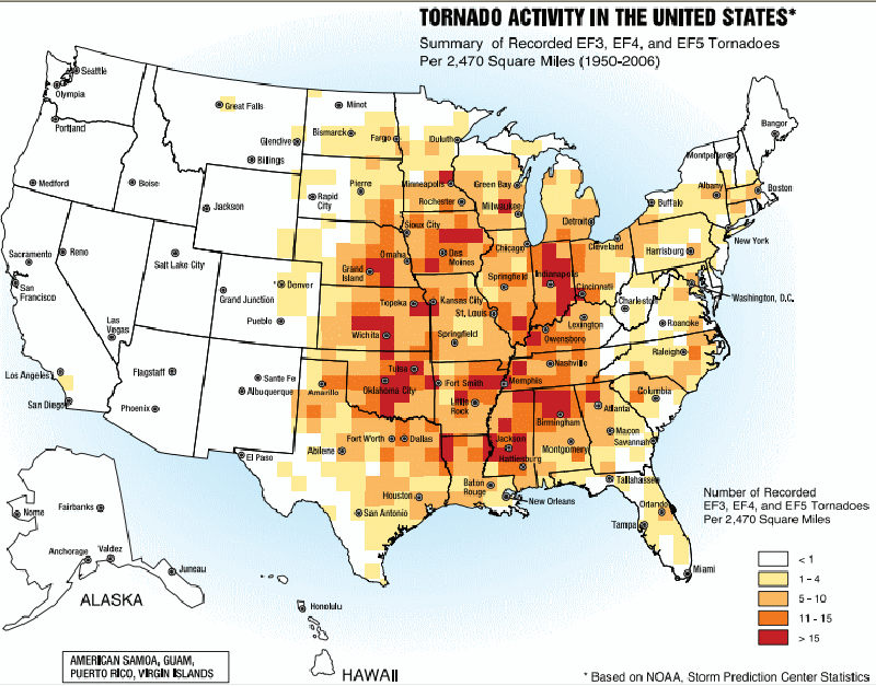 Среднее распределение торнадо в США за год