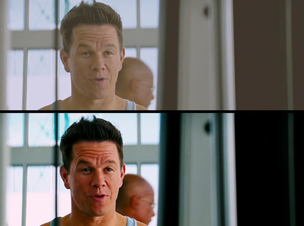 Кадр фильма до и после обработки