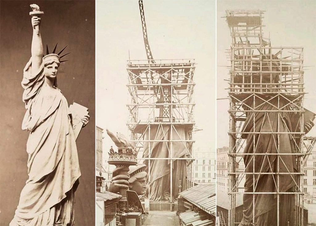 Статуя Свободы в процессе строительства