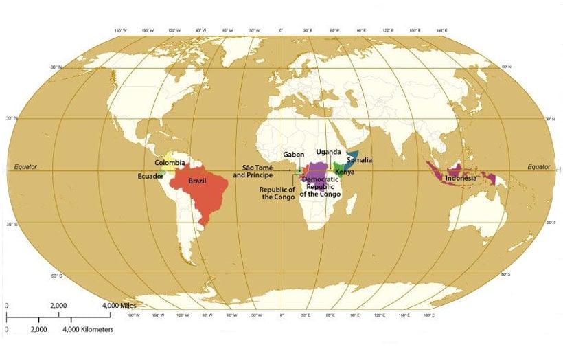 Страны, расположенные на линии экватора