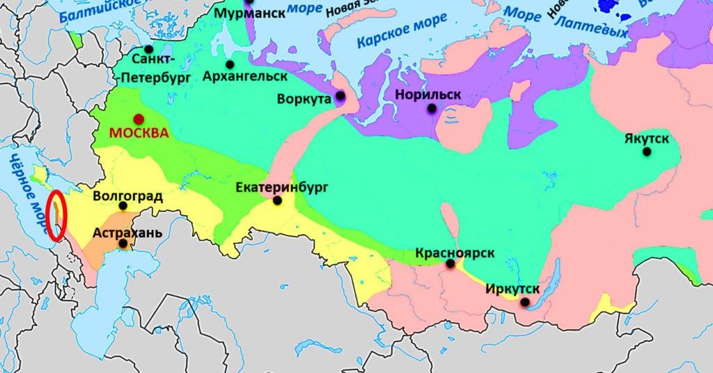 Субтропики на карте