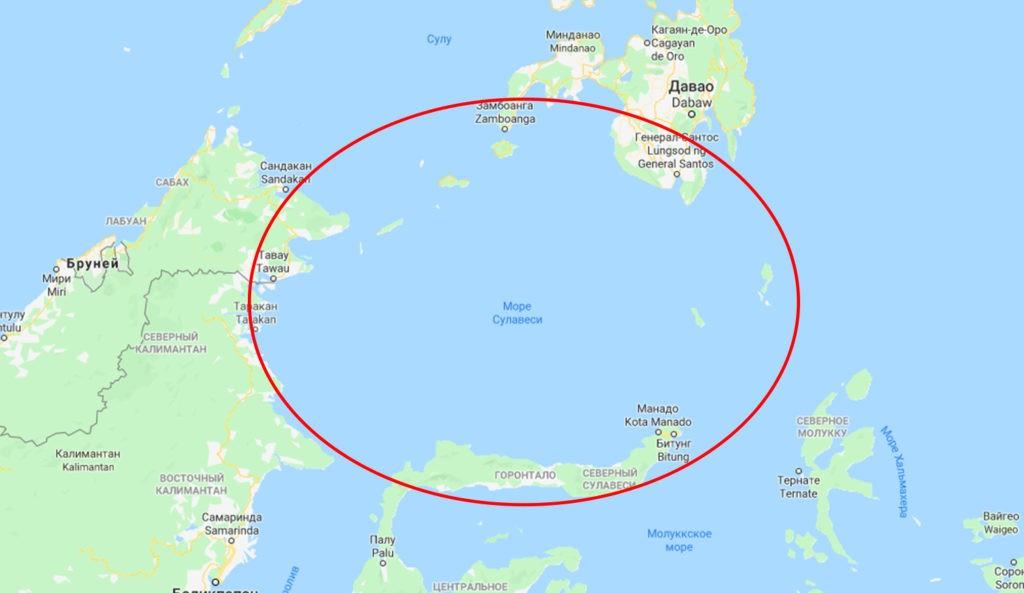 Море Сулавеси окружено островами