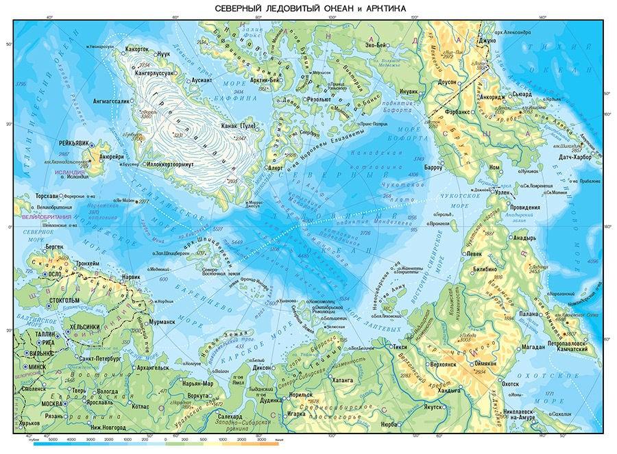 Северный Ледовитый океан на карте