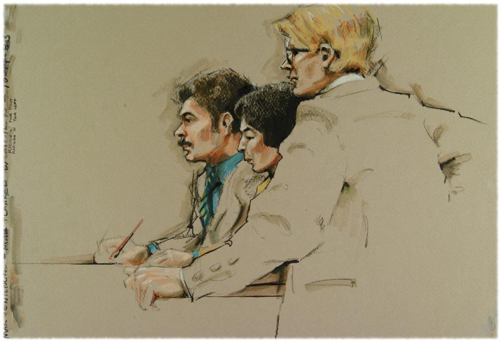 Судебная зарисовка нарисованная примерно за восемь минут