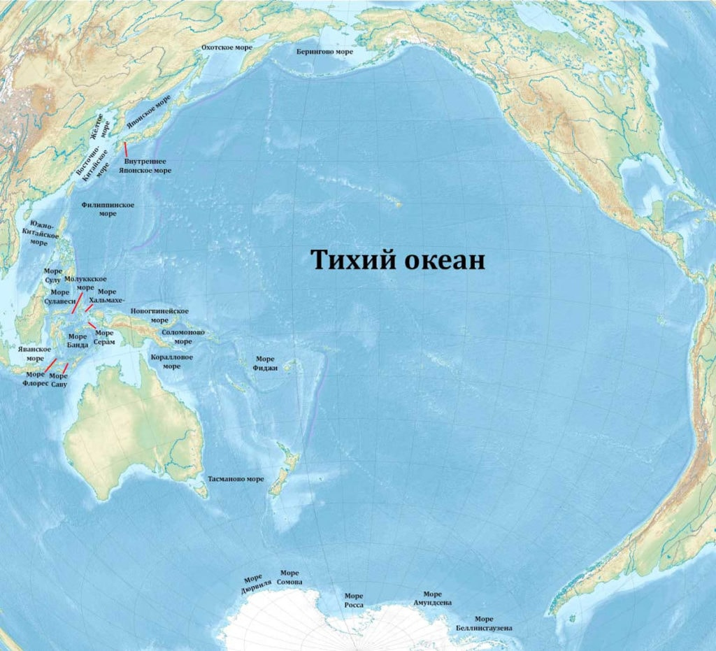Тихий океан на карте