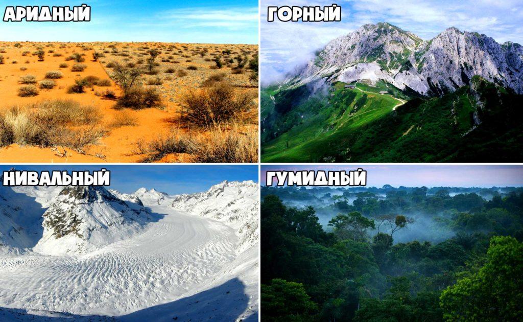 Примеры типов климата