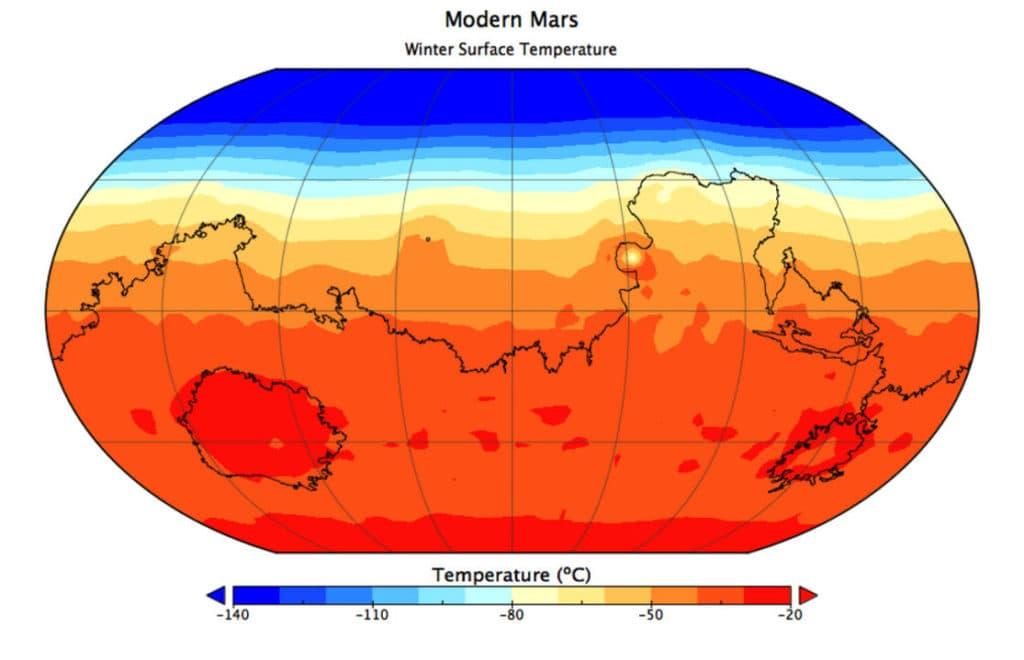 Температура на Марсе - тепловая карта