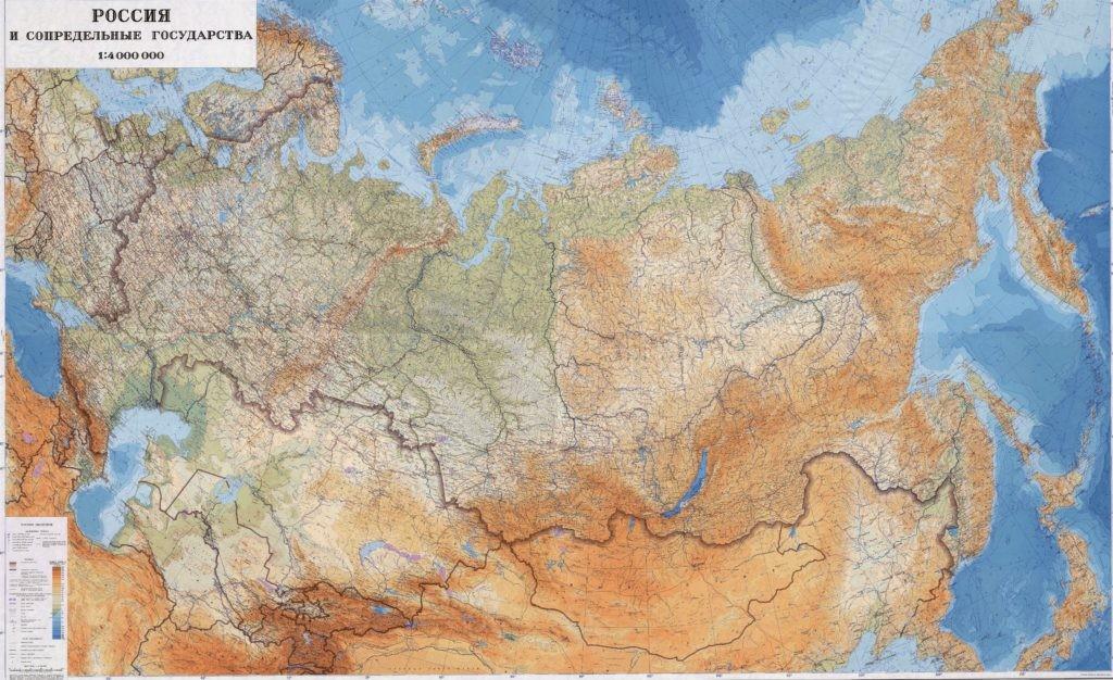 Топографическая карта России (нажать для увеличения)