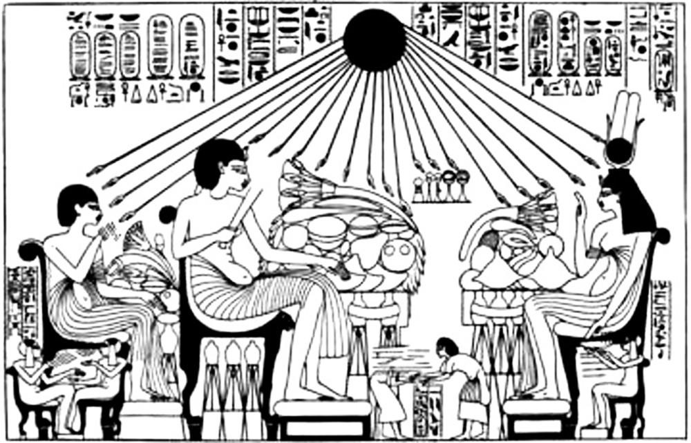 Изображение фараона с семьей за трапезой (гробница Эхнатона)