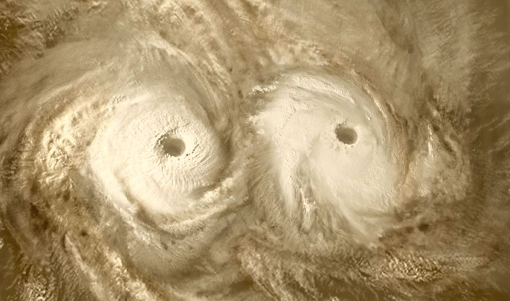 Снимок двух торнадо на Венере