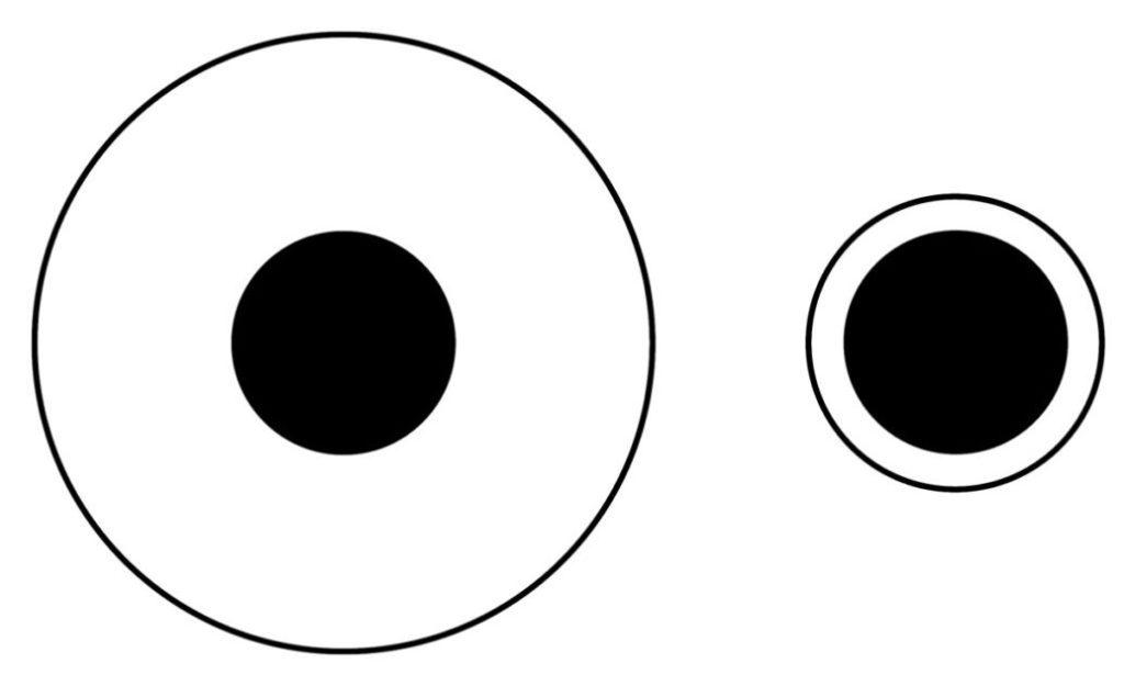 Иллюзия Дельбёфа: два черных круга одинаковы по размеру, хотя левый кажется меньше