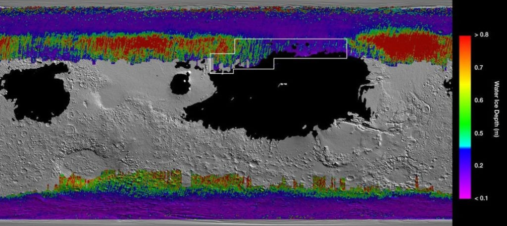 Рапределение подповерхностного льда на Марсе: более теплые цвета - глубокое залегание. Большинство легкодоступных запасов находится у холодных полюсов / ©NASA, JPL-Caltech, ASU