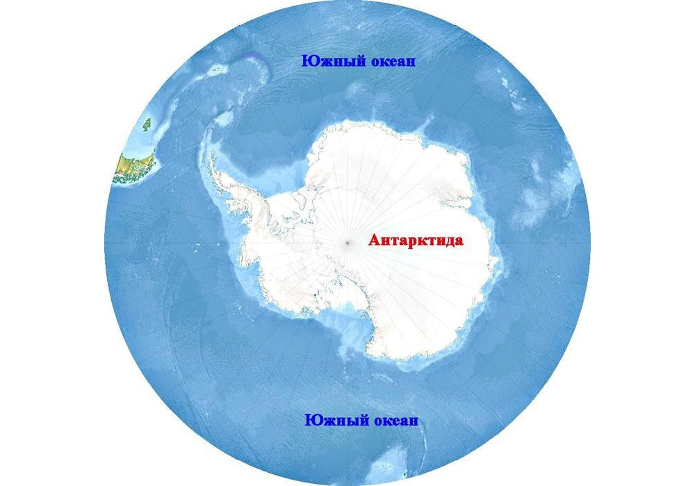 Южный океан на карте