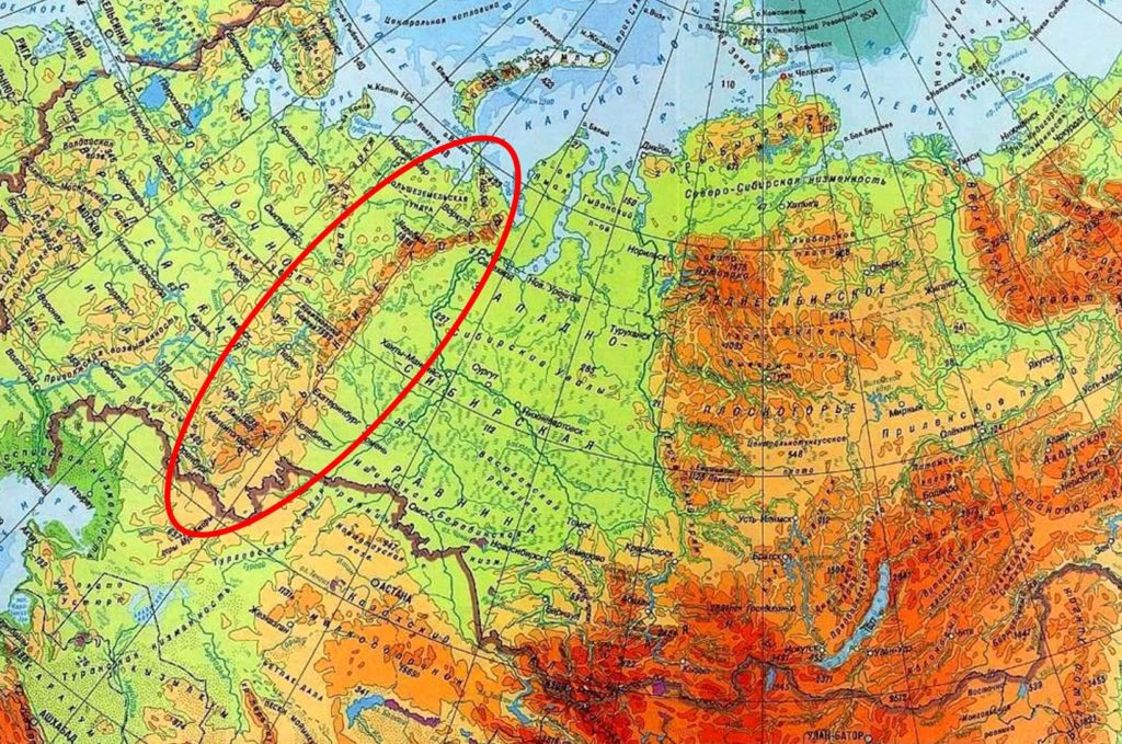 Уральские горы на карте